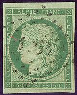 Petits Chiffres. No 2, Vert, Obl Pc 1263 La Ferté Gaucher, Un Voisin. - TB. - R - 1849-1850 Ceres