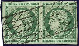 No 2, Paire Obl Grille Sans Fin, Nuance Foncée. - TB - 1849-1850 Ceres