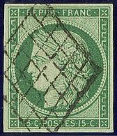 No 2b, Vert Foncé, Obl Grille, Jolie Pièce. - TB. - R - 1849-1850 Ceres