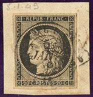 Oblitérations Sur 20c Noir. Cad Noir Type 15. 5 Janvier De Tours, Sur N°3 Sur Support. - TB - 1849-1850 Ceres