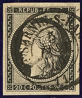 Oblitérations Sur 20c Noir. Cad Noir Type 15. 5 Janv De St Sernin S. Rance, Sur N°3, Jolie Pièce. - TB - 1849-1850 Ceres