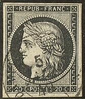 Oblitérations Sur 20c Noir. Cad Noir Type 15. 5 Janv Sur N°3. - TB - 1849-1850 Ceres