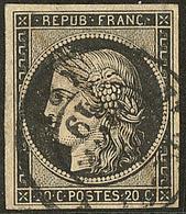 Oblitérations Sur 20c Noir. Cad Noir Type 15. 5 Janv + Plume, Sur N°3. - TB - 1849-1850 Ceres