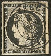 Oblitérations Sur 20c Noir. Cad Noir Type 15. 8 Janv De Ruffec, Un Voisin, Sur N°3. - TB - 1849-1850 Ceres