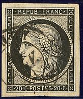Oblitérations Sur 20c Noir. Cad Noir Type 15. 11 Janv De Nancy, Sur N°3. - TB - 1849-1850 Ceres