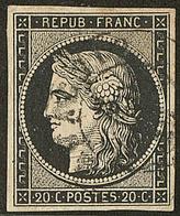 Oblitérations Sur 20c Noir. Cad Noir Type 15. Sur N°3. - TB - 1849-1850 Ceres