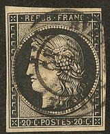 Oblitérations Sur 20c Noir. Cad Noir Type 15. Sur N°3, Filet Effleuré, TB D'aspect - 1849-1850 Ceres