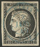 Oblitérations Sur 20c Noir. Cad Bleu Type 15. 2 Janv 49 De Paris, Pelurage Sinon Superbe - 1849-1850 Ceres