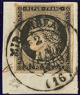 Oblitérations Sur 20c Noir. Moyen Cad Noir Type 14. 2 Janv 49 De Mirambeau, Sur Petit Support, Superbe. - R - 1849-1850 Ceres