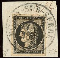 Oblitérations Sur 20c Noir. Grand Cad Noir Type 13. 4 Janv De Rosoy Sur Serre, Sur N°3, Sur Support, Superbe. - R - 1849-1850 Ceres