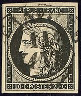 Oblitérations Sur 20c Noir. Grand Cad Noir Type 13. 11 Janv De Granville, Sur N°3, Jolie Pièce. - TB - 1849-1850 Ceres