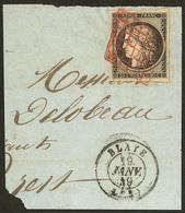 Oblitérations Sur 20c Noir. Grille Rouge. No 3 Sur Fragment Avec Cad 15 Blaye 19 Janv 49, Jolie Pièce. - TB. - R - 1849-1850 Ceres