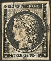 Oblitérations Sur 20c Noir. Croix épaisse De Troyes. No 3. - TB. - R (cote Maury) - 1849-1850 Ceres