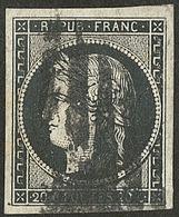 Oblitérations Sur 20c Noir. 10 Barres En Cercle, De Lille. No 3a, Un Voisin. - TB. - R (cote Maury) - 1849-1850 Ceres