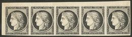 (*) No 3a, Bande De Cinq Cdf, Jolie Pièce. - TB - 1849-1850 Ceres