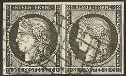 No 3a, Paire Obl Grille. - TB (cote Maury) - 1849-1850 Ceres