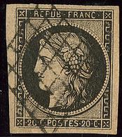 No 3b, Noir Sur Chamois, Obl Grille. - TB - 1849-1850 Ceres