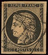 No 3g, Noir Sur Chamois Très Foncé, Obl Grille, Jolie Pièce. - TB - 1849-1850 Ceres