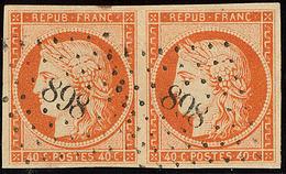 No 5, Paire, Nuance Foncée, Obl Pc 898, Jolie Pièce. - TB - 1849-1850 Ceres