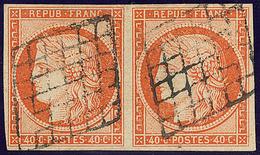 No 5, Paire Obl Grille. - TB - 1849-1850 Ceres