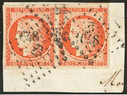 No 5a, Paire, Un Voisin, Sur Support. - TB - 1849-1850 Ceres
