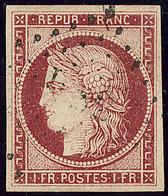 """No 6, Carmin, Obl """"DS 2"""", Jolie Pièce. - TB. - R - 1849-1850 Cérès"""