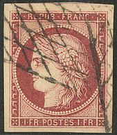 No 6b, Carmin Foncé, Un Voisin + Grandes Marges, Obl Grille Sans Fin, Jolie Pièce. - TB. - R - 1849-1850 Ceres