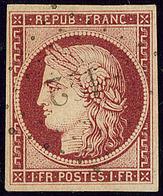 No 6e, Carmin Vif, Obl Pc 122, Jolie Pièce. - TB (N°et Cote Maury) - 1849-1850 Cérès