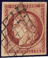 No 6A, Rouge Brun, Obl Grille, Jolie Pièce. - TB. - R - 1849-1850 Cérès