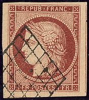 No 6B, Carmin Brun, Deux Voisins, Obl Grille, Superbe. - R - 1849-1850 Cérès