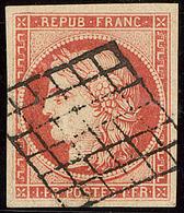 Vermillon Vif. No 7a, Obl Grille, Superbe. - RRR - 1849-1850 Cérès