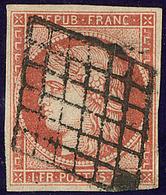 Vermillon Vif. No 7a, Nuance Foncée, Obl Grille. - TB. - RR - 1849-1850 Cérès