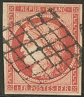 Vermillon Vif. No 7a, Obl Grille, Replaqué, Superbe D'aspect. - R - 1849-1850 Ceres