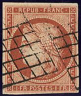 Vermillon Terne. No 7B, Obl Grille Superbe. - RRR - 1849-1850 Cérès