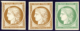 (*) Essais. Papier Carton. 10c Bistre (2 Dont Un Am.), 15c Vert. - TB - 1849-1850 Ceres