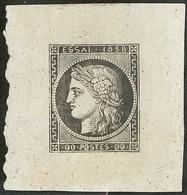 (*) Epreuve En Noir Sur Feuillet De 1858, Pour Nouvelle Fabrication Au Balancier Monétaire, Feuillet 37x40mm. - TB. - R - 1849-1850 Cérès