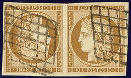 Tête-bêche. No 1d, Paire Obl Grille, Jolie Pièce. - TB. - RR - 1849-1850 Cérès