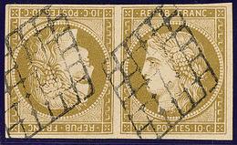 Faux. No 1, Nuance Verdâtre, Paire Tête Bêche Obl Grille. - TB - 1849-1850 Cérès