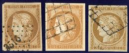 Faux. Nos 1, Deux Faux Différents Et Un N°1 Authentique Mais Réparé - 1849-1850 Cérès