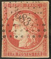 Faux. Vermillon Vif. No 7a, Obl Pc 3683, TB D'aspect - 1849-1850 Cérès