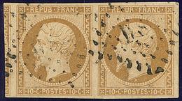 No 9a, Paire, Un Voisin, Pli Sur Le Timbre De Droite. - TB - 1852 Louis-Napoleon