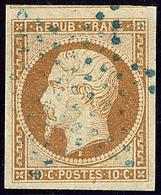 No 9b, Bistre Foncé, Obl étoile Bleue, Un Voisin, Jolie Pièce. - TB. - R ((N°et Cote Maury 2009) - 1852 Louis-Napoleon