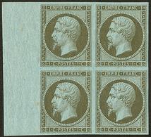 * No 11, Vert Olive, Bloc De Quatre Bdf, Quasiment **. - TB - 1853-1860 Napoleon III