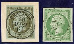 Nos 11 Obl Cad 15 Chartres 10 Mars 64 Sur Support, 12 Obl Pc 175, Ex Choisis. - TB - 1853-1860 Napoleon III