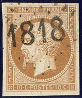 Oblitérations. Cachet D'essai De Lyon, Gc 1818 Bâton. No 13B, Ex Choisi. - TB (cote Maury) - 1853-1860 Napoléon III