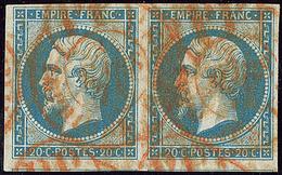 Oblitérations. Cad Rouge Des Imprimés. No 14A Paire, Deux Voisins. - TB - 1853-1860 Napoléon III