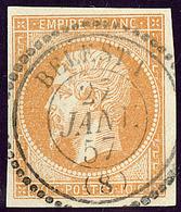Oblitérations. Cad Perlé. No 13Ab, Bistre-orange, Obl Cad Belesti. - TB - 1853-1860 Napoléon III