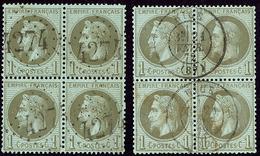 No 25, Deux Bloc De Quatre Obl Gc Et Cad, Nuances. - TB - 1863-1870 Napoléon III. Laure