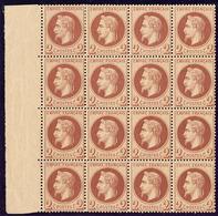 ** No 26B Rouge -brun Clair, Bloc De Seize Bdf, Pli Horizontal Sur Une Bande De Quatre Et Adhérences Sur Une Paire, Très - 1863-1870 Napoléon III. Laure