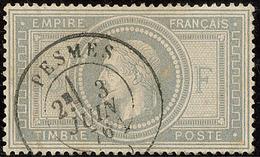 No 33, Obl Cad 17 De Pesmes Juin 76, Pli Sur Une Dent D'angle Sinon TB - 1863-1870 Napoléon III. Laure